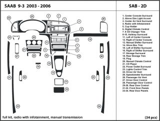 Saab 9 3 2003 2006 Radio w Infotainment Manual Transmission Dash Kit Trim SAB2D