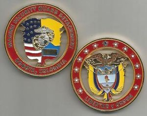 US Marine Corps Marine Security Guard Detachment Bogota Columbia Challenge Coin