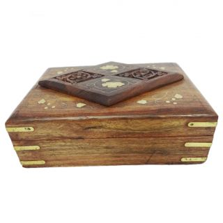 Antique Wooden Jewelry Box Vintage Style Small Decorative Storage Trunk SWB12B