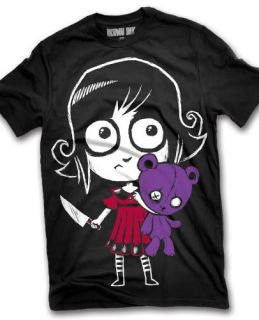 Akumu Ink Tattoo Horror Emo Goth Punk Scary Gothic Girl with Teddy Bear T Shirt