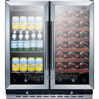 Built in French Glass Door Refrigerator Compact Wine Cooler Beverage Fridge