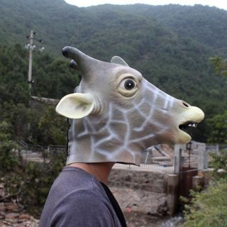 Gray Creepy Giraffe Head Face Animal Costume Halloween Party Prop Carnival Mask