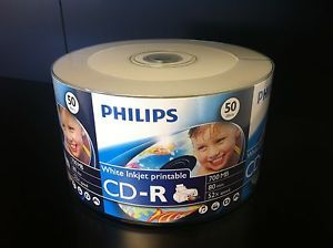 100 Philips 52x White Inkjet Hub Printable Blank CD R CDR Recordable Disc Media