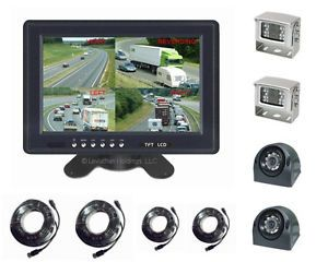 "9"" Four Camera Color Rear View Backup System Quad 4"