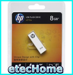 HP V210W 8GB 8g USB Flash Drive Memory Stick w Clip