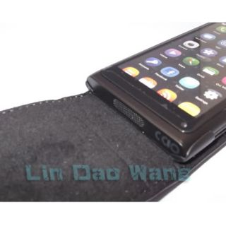 Black Flip Genuine Leather Case Cover Pouch Film for Nokia Lumia 800 N800 N9