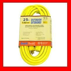 25' Foot 12 3 Yellow Heavy Duty Outdoor Extension Power Cord Electrical Outlet