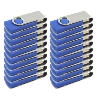 20 Pcs USB 2 0 2G 2GB Flash Memory Drive Thumb Swivel Fold Design 2 GB Blue