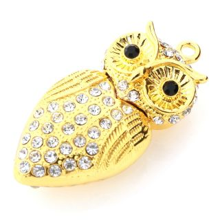 High Quality 32GB Owl Crystal Jewelry Memory Stick Necklace Cute USB Flash Drive