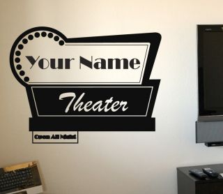 Personalized Name Movie Theater Sign Vinyl Wall Art Home Decor