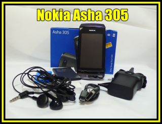 Nokia Brand Asha 305 Dual Sim 2G Touch Screen Cellular Mobile Phone Black New