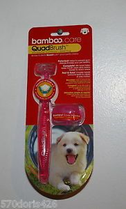 Bamboo Care Quadbrush Pet Toothbrush for Small Dogs