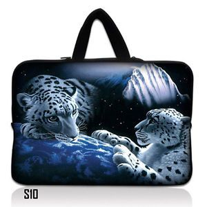 "10 2"" White Lions Laptop Netbook Tablet Sleeve Bag Case w Hidden Handle S10"
