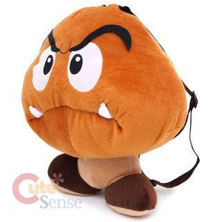 "Nintendo Super Mario Goomba Mushroom Plush Doll Backpack 19"" Kids Adults"