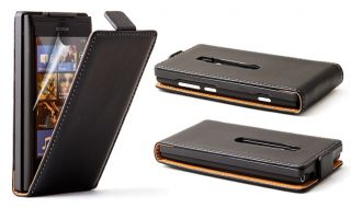 Real Genuine Black Leather Flip Case Cover for Nokia Lumia 800