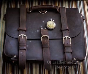 New Crazy Horse Leather Laptop Bag Messenger Bag Saddle Bag Hand Made