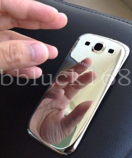 Silver Chrome Plated Mirror Battery Door Back Cover Samsung Galaxy s 3 III I9300