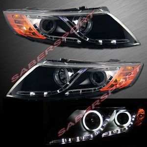 Black CCFL Halo Projector Headlights w LED Parking for 2011 2013 Kia Optima