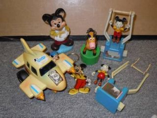 Vintage Mickey Mouse Walt Disney Toy Lot Gyro Plane Push Button Puppets Trapeze