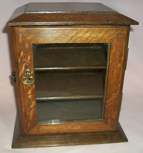 Small Antique Glass Front Cabinet Cupboard Box Shelves Smokers Jewellery Display