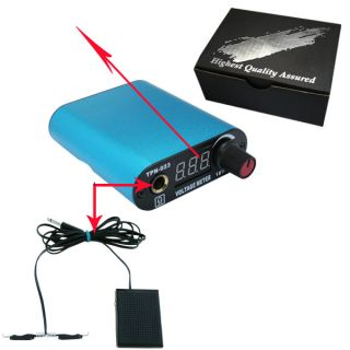 Mini LED Digital Tattoo Power Supply Kit Blue Color with Foot Pedal Clip Cord