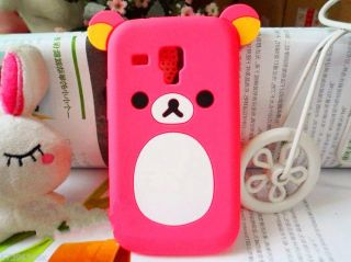 Lovely Cute Teddy Bear Silicone Soft Cover Case for Samsung Galaxy s Duos S7562