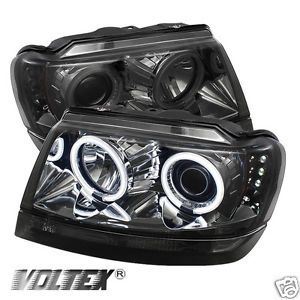 1999 2004 Jeep Grand Cherokee CCFL LED Projector Headlights Lightbar Smoke