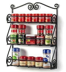 Wrought Iron Spice Rack Holder Wall Cabinet Mount Kitchen Spices Nail Polish New