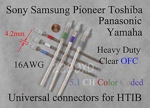 6C 4 2mm 16AWG Speaker Cable Wire Connectors Sony Samsung Panasonic Home Theater