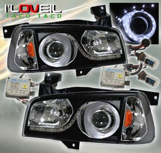 06 10 Charger Halo LED Projector Head Lights Lamps Black 8000K HID Xenon Kit