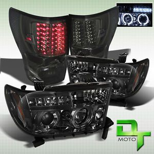Smoked 07 12 Tundra Dual Halo Projector LED Headlights Full LED Tail Lights Lamp