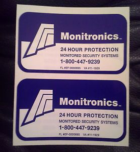 16 Authentic Monitronics Security Alarm System Warning Window Stickers Decals
