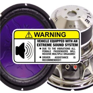 Orgasmic Stereo Warning Sticker for Extreme Subwoofers