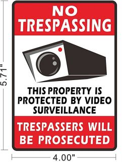 No Trespassing CCTV Security Camera Surveillance Warning Sign Decal Sticker A077
