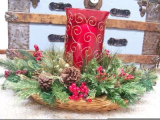 "28"" Ruby Red Glass Hurricane Gold Scroll Pine Cone Berries Christmas Centerpiece"