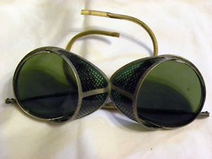 Vtg Cesco Motorcycle Safety Glasses Antique Aviator Steampunk Goggles