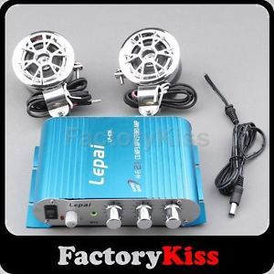 Blue Car Motorcycle Super Bass Mini Audio Stereo Amplifier 2 Speakers 918