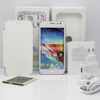 "White 5 0"" Unlocked Android Smart Phone 4 Core Dual Sim Cellphone 2GB RAM 9500"