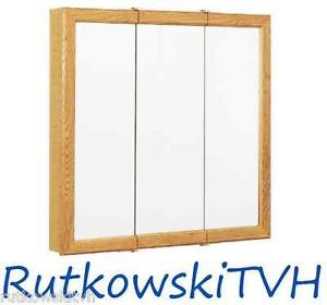 32x26 inch Oak Frame Tri View Surface Mount Medicine Cabinet with 2 Shelves