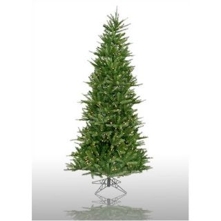 Vickerman Tiffany Spruce 7.5 Green Slim Artificial Christmas Tree with 550 Pre Lit Multicolored Lights with Stand