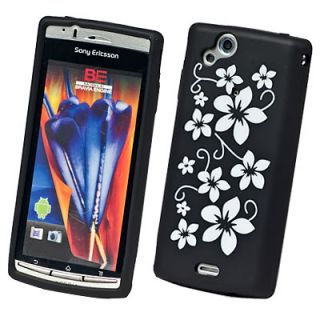 For Sony Ericsson Xperia Arc x12 Black Flower Silicone Gel Skin Case Cover