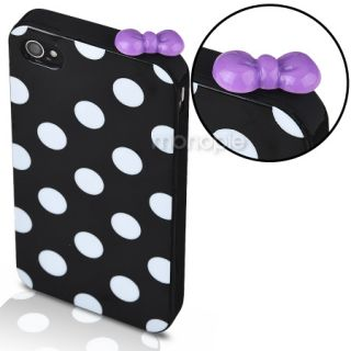 For iPhone 4 4S 4G Accessory Polka Dot Case Gel Skin Rubber Hard Cover Bow Cap