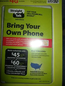 Straight Talk Standard Sim Card for ATT at T or Unlocked Phones iPhone 4 4S 5