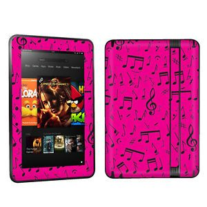 "Kindle Fire HD 7"" Case Decal Cover Skin Vinyl Sticker Music Note Pink"