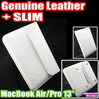 "For Apple MacBook Air 13 13 3"" inch Genuine Leather Case Cover Slim Pouch White"
