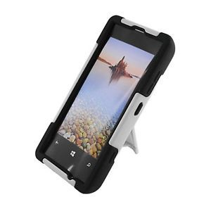 For T Mobile Nokia Lumia 521 Windows Phone 8 Hybrid Case Black White Y Stand