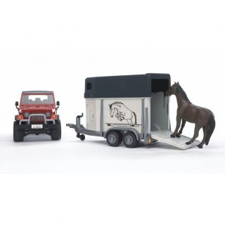 New Bruder Toys Jeep Wrangler Unlimited with Horse Trailer incl 1 Toy Horse