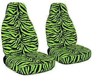 Zebra Lime Green Front Rear Car Seat Covers SWC SBC and Rear View Mirror Cover