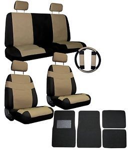 Tan Black Superior Synthetic Leather Seat Covers w Black Mats More 4