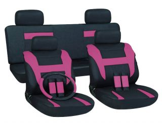 16pc Set Pink Black Auto Car Seat Covers Free Steering Wheel Belt Pad Head Rests